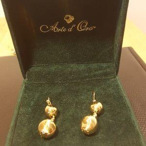 Arto d' Oro   24k gold infused glass earrings